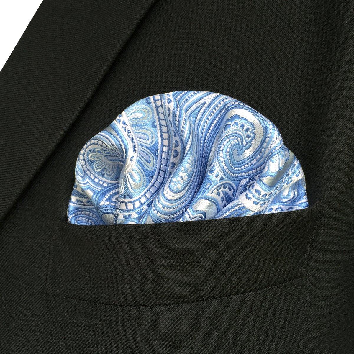 Shlax/&Wing Azure Plateado Paisley Mens Pocket Square Silk Wedding Business Pa/ñuelos