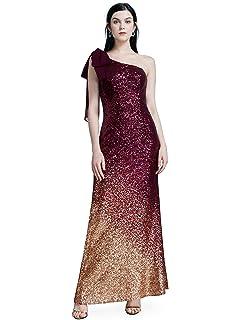 Ever-Pretty Women Sparkling Gradual Champagne Gold Sequin Mermaid Cap Sleeves Evening Dress Prom Dress