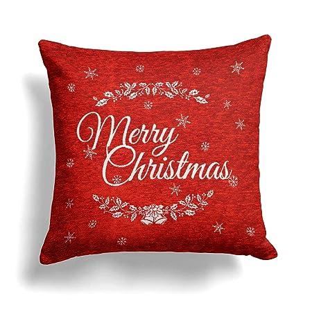 Funda para cojín navideña con inscripción en inglés (Merry Christmas), 45 x 45 cm, color rojo