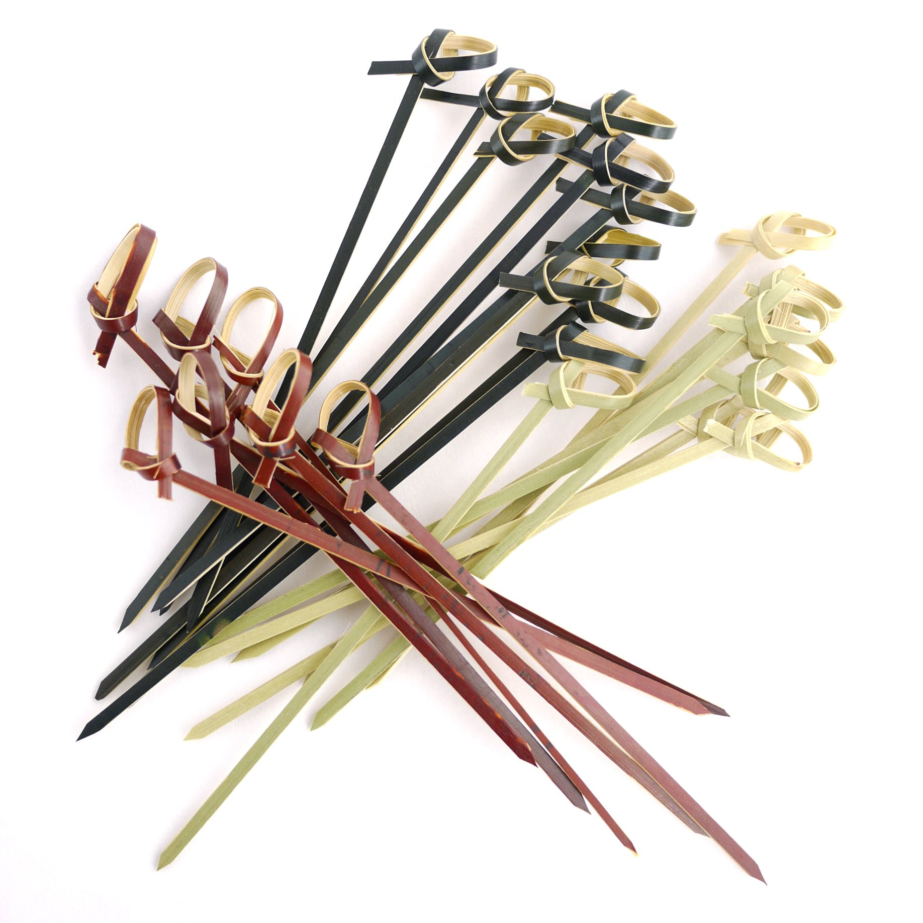 BambooMN 3.5'' Bamboo Knotted Cocktails Hors D'oeurves Sandwich Skewer Picks for Catered Events, Holiday's, Restaurants or Buffet Party Supplies, 3 Colors, 300 Pieces