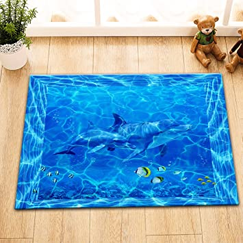 Amazon De Lb Ozean Delfin Fisch Blau Flanell Bodenmatte