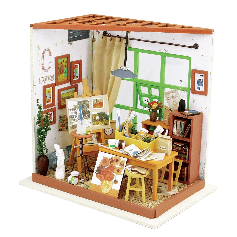 ROBOTIME Holz Miniatur - Puppenhaus Set bemalbar - für Kinder und ...