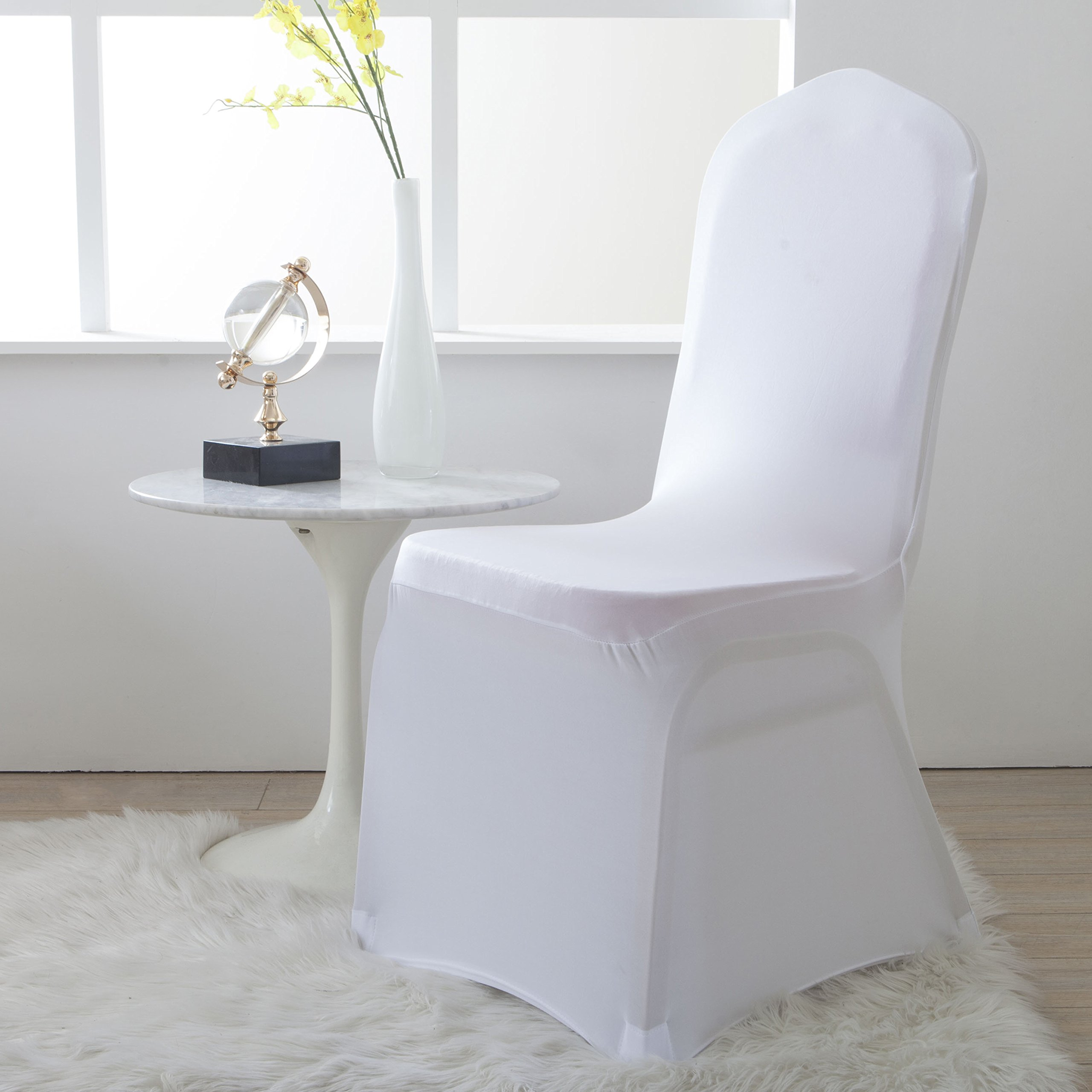 Lewing Set of 4pcs Spandex Fitted Stretchable Chair Covers for Folding Chairs White