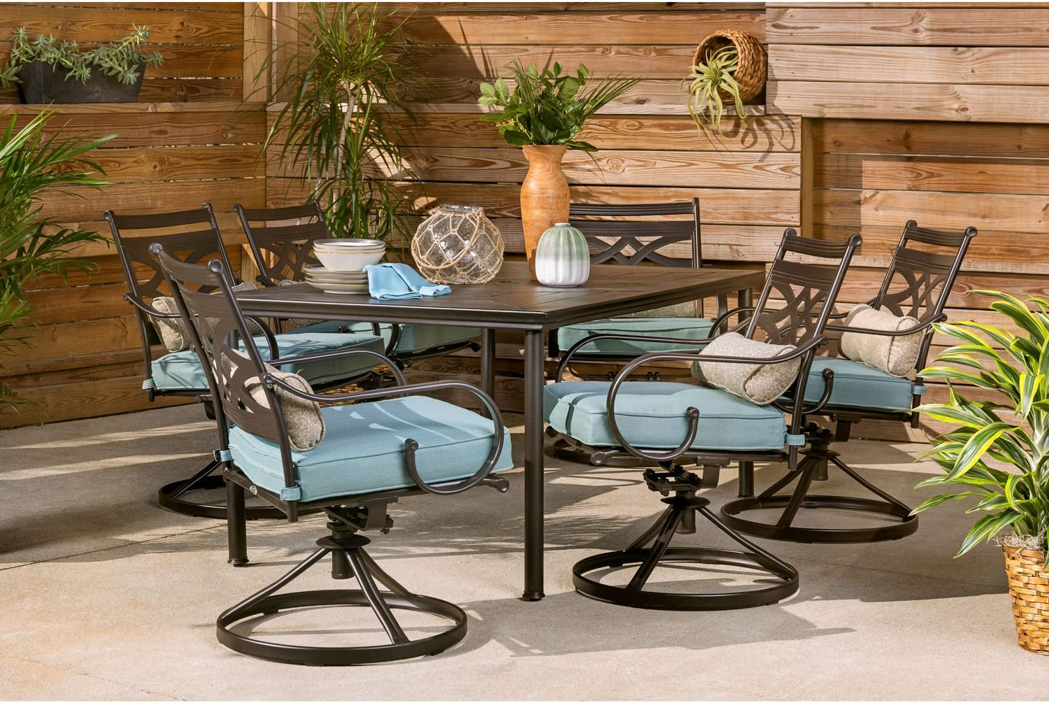Amazon Com Hanover Montclair 7 Piece All Weather Outdoor Patio Dining Set 6 Swivel Rocker Chairs With Comfortable Blue Seat And Lumbar Cushions 40 X66 Stamped Rectangle Table Mclrdn7pcsqsw6 Blu Garden Outdoor