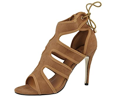e8c3c5b75f7cf Ladies ELLA Faux Suede Cut Out Strappy Peep Toe Lace Up Stiletto High Heel  Party Sandals