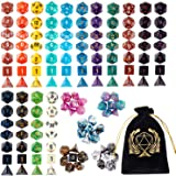 DND Dice Set , 20 x 7 (140 Pieces) Polyhedron Dice 20 Colors Dice for Dungeons and Dragons DND RPG MTG Table Games D4 D8…