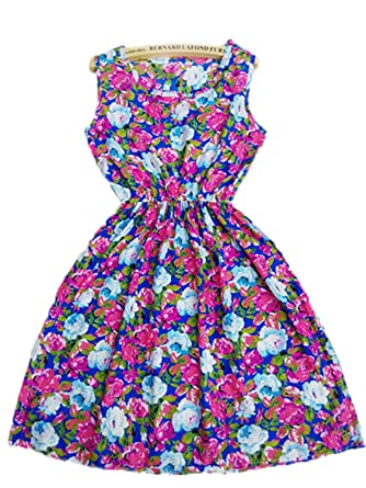 COOCOl New Summer Autumn Vestidos New Women Casual Bohemian Floral Sleeveless Vest Printed Beach Chiffon Dress