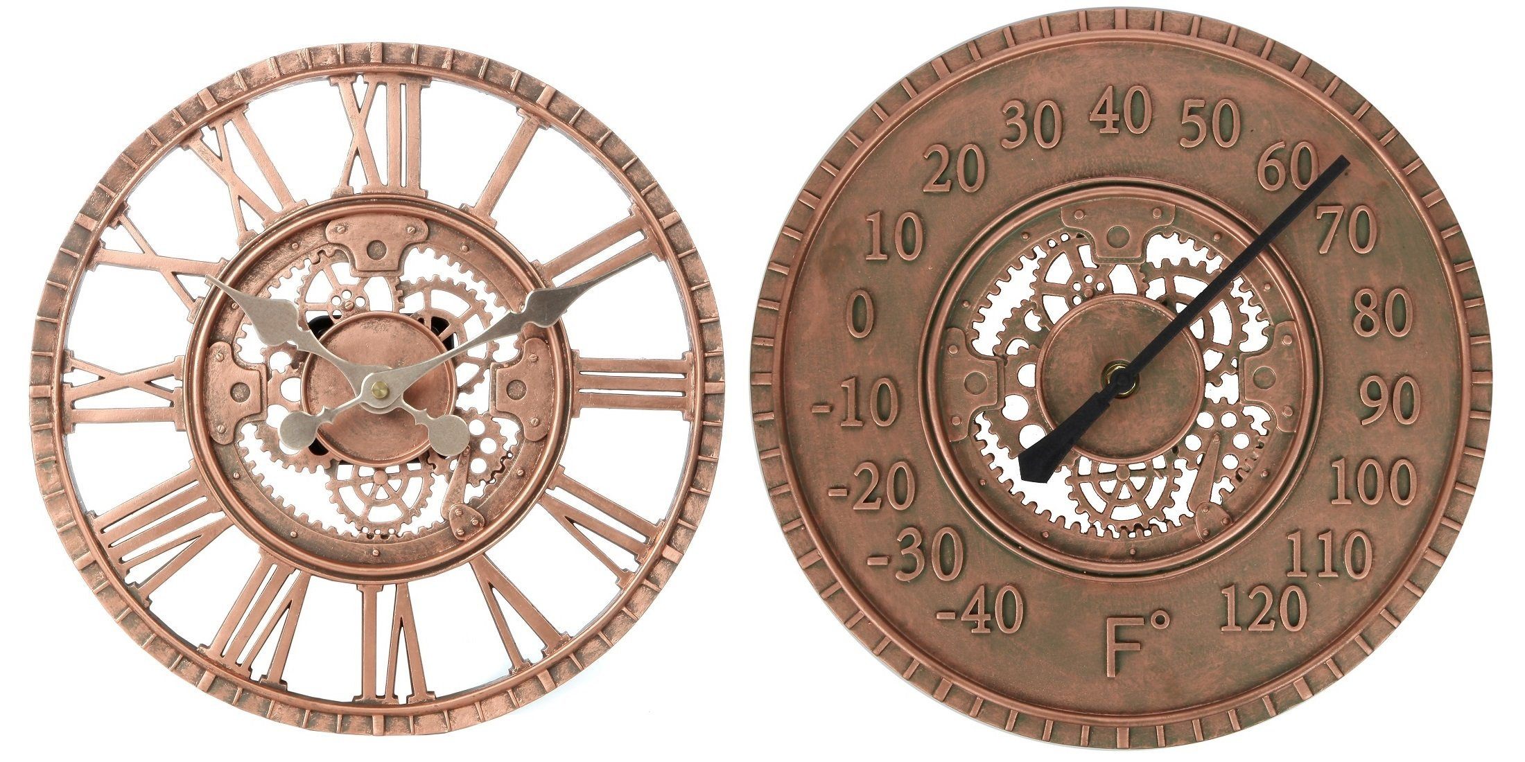 Lily's Home Hanging Wall Clock and Thermometer Set, Steampunk Gear and Cog Design with a Bronze Finish, Ideal for Indoor or Outdoor Use, Poly-Resin (12 Inches and 13 Inches Diameter)