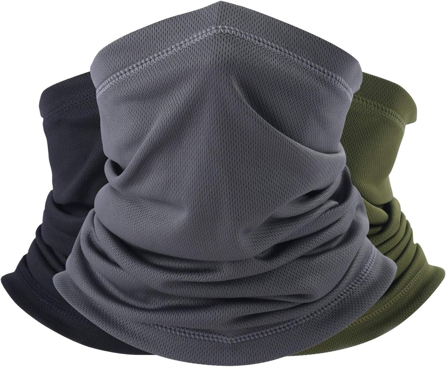 hikevalley Summer Face Scarf Neck Gaiter Cooling Dustproof Masks 3 Pack