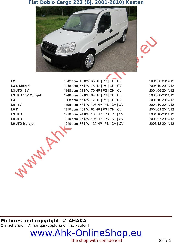 ATTELAGE FIAT DOBLO DOBLO MAXI de 2001 à 01//2010