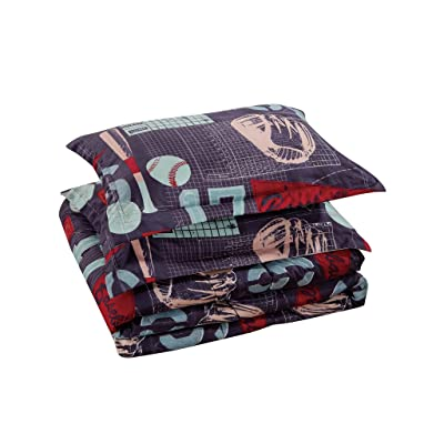 Chezmoi Collection 6-Piece Kids/Teens Sports Comforter Set - Soft Microfiber Gray Blue Red Teal Baseball, Full Size: Home & Kitchen