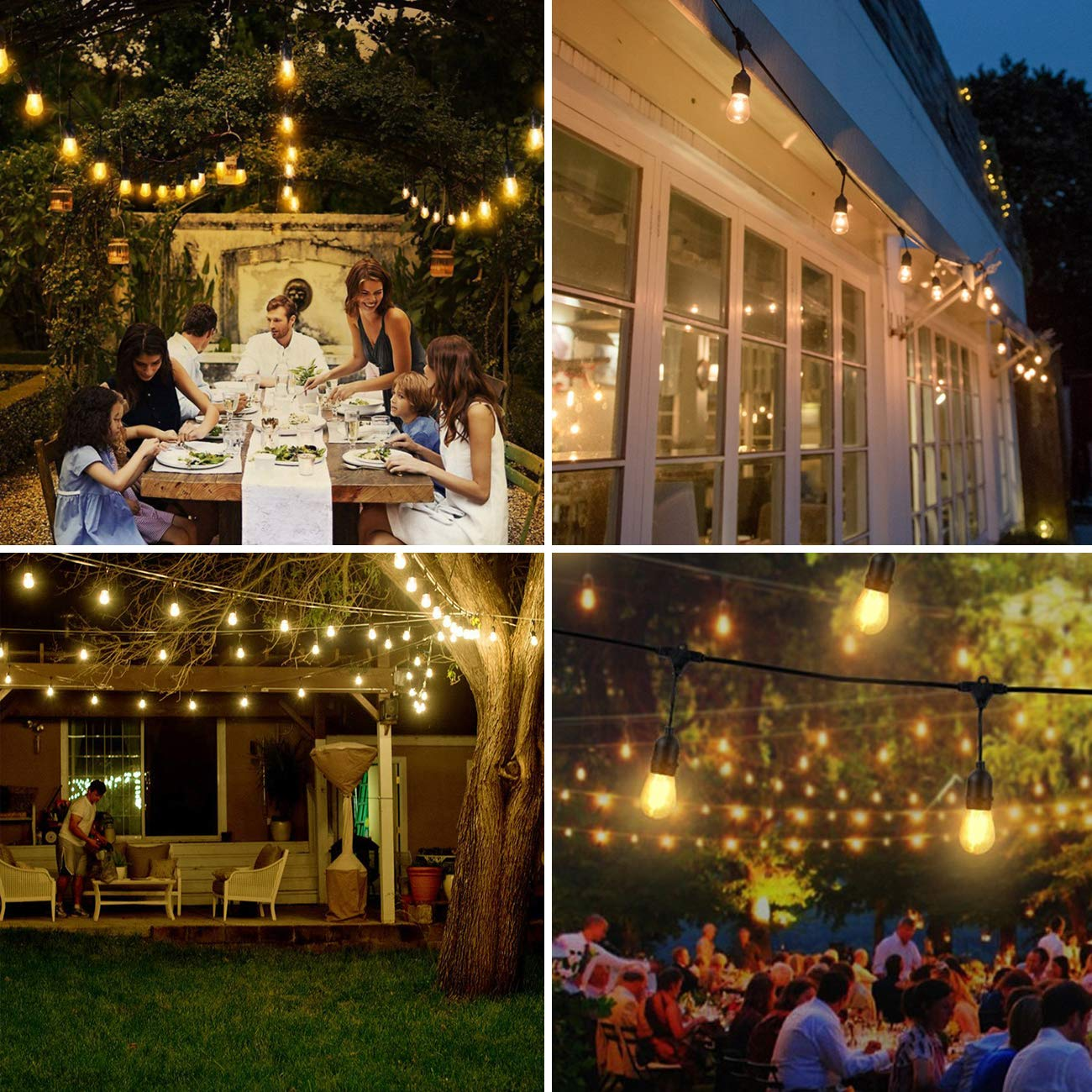 UL Listed Heavy Duty String Lights for Backyard Light Patio Garden Deck Cafe EAGWELL 48Ft Commercial Outdoor Lights with 15 Dimmable LED Bulbs LED Outdoor String Lights