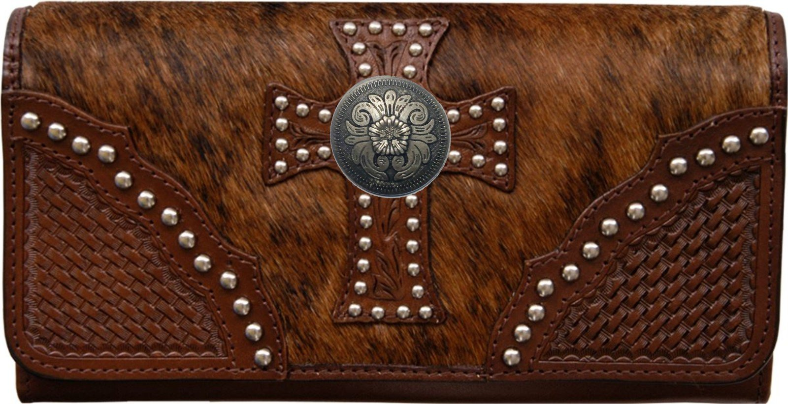 Custom Ornate Pewter Flower Natural Hair Christian Clutch Wallet with removable checkbook