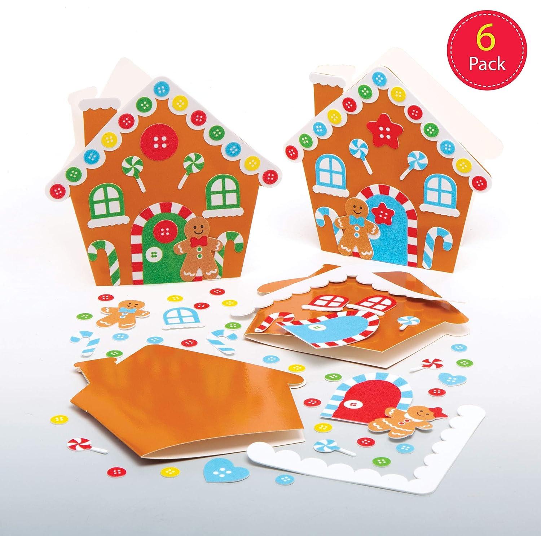Baker Ross Kits Tarjetas Casa de jengibre (Pack de 6) para manualidades y decoraciones navideñas infantiles: Amazon.es: Amazon.es