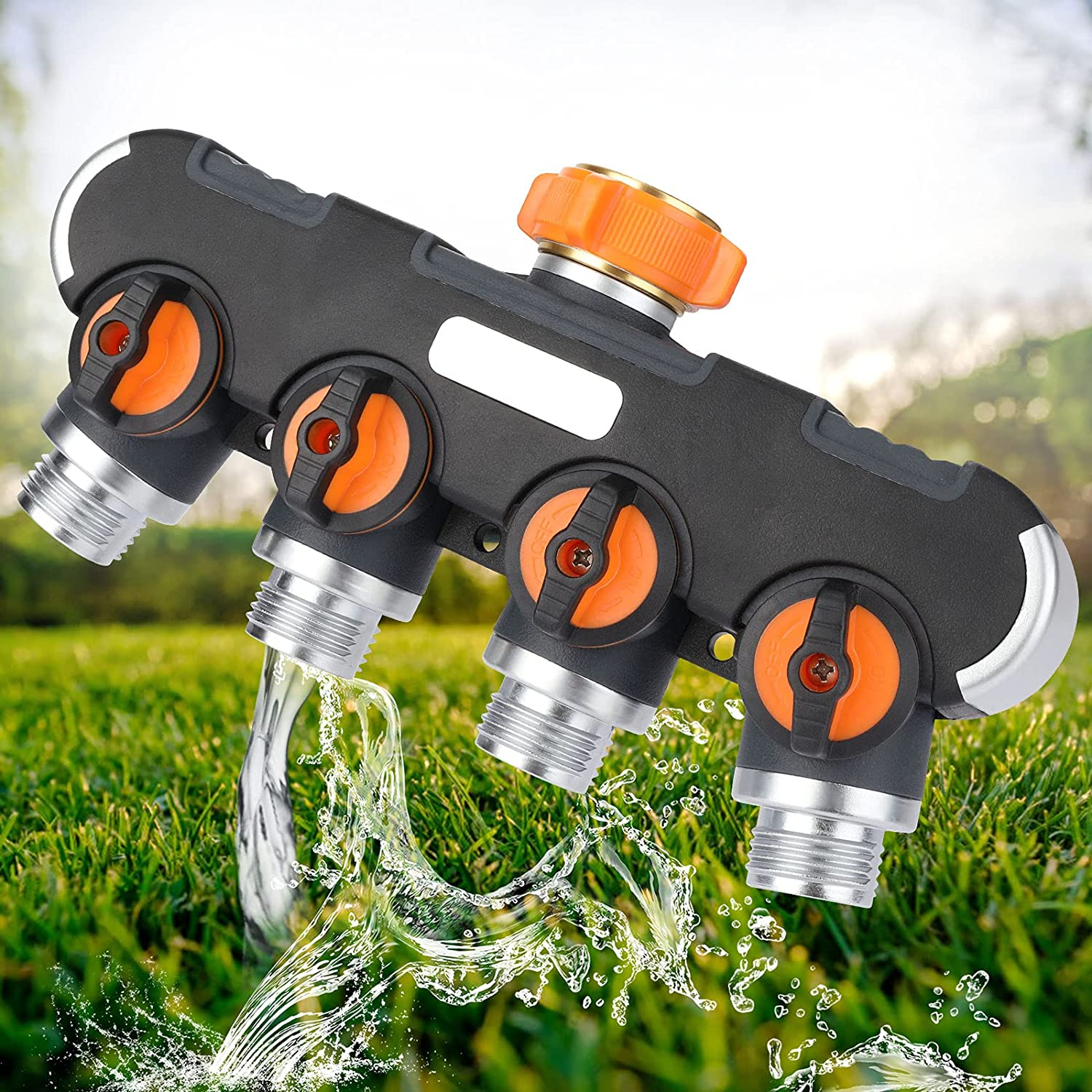 XDDIAS 4 Way Garden Hose Splitter with 4 Valves, 3/4 Inch Heavy Duty Hose Water Manifold Connector for Outdoor Faucet Adapter