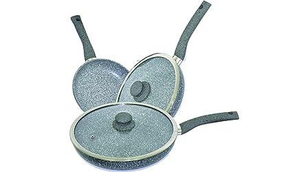 erika Set de Sartenes, Aluminio Forjado, Gris, 28 cm, 7 Unidades