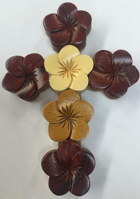 Tiki Handmade Cross Hawaiian Flower Design