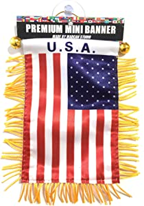 USA American Small Flags for car Interior Rearview Mirror or Home Sticks to Windows Glass Quick and Easy Quality Small Hanging Mini Banner Flags car Accessories (USA Flag)