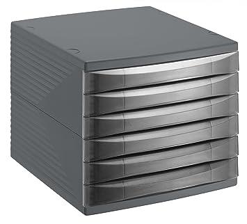 Rotho Quadra 10800MK000 Cajón archivador de Oficina, poliestireno, Formato A4, Aprox. 37 x 28 x 25 cm, plástico, Antracita, 6 Schübe: Amazon.es: Hogar