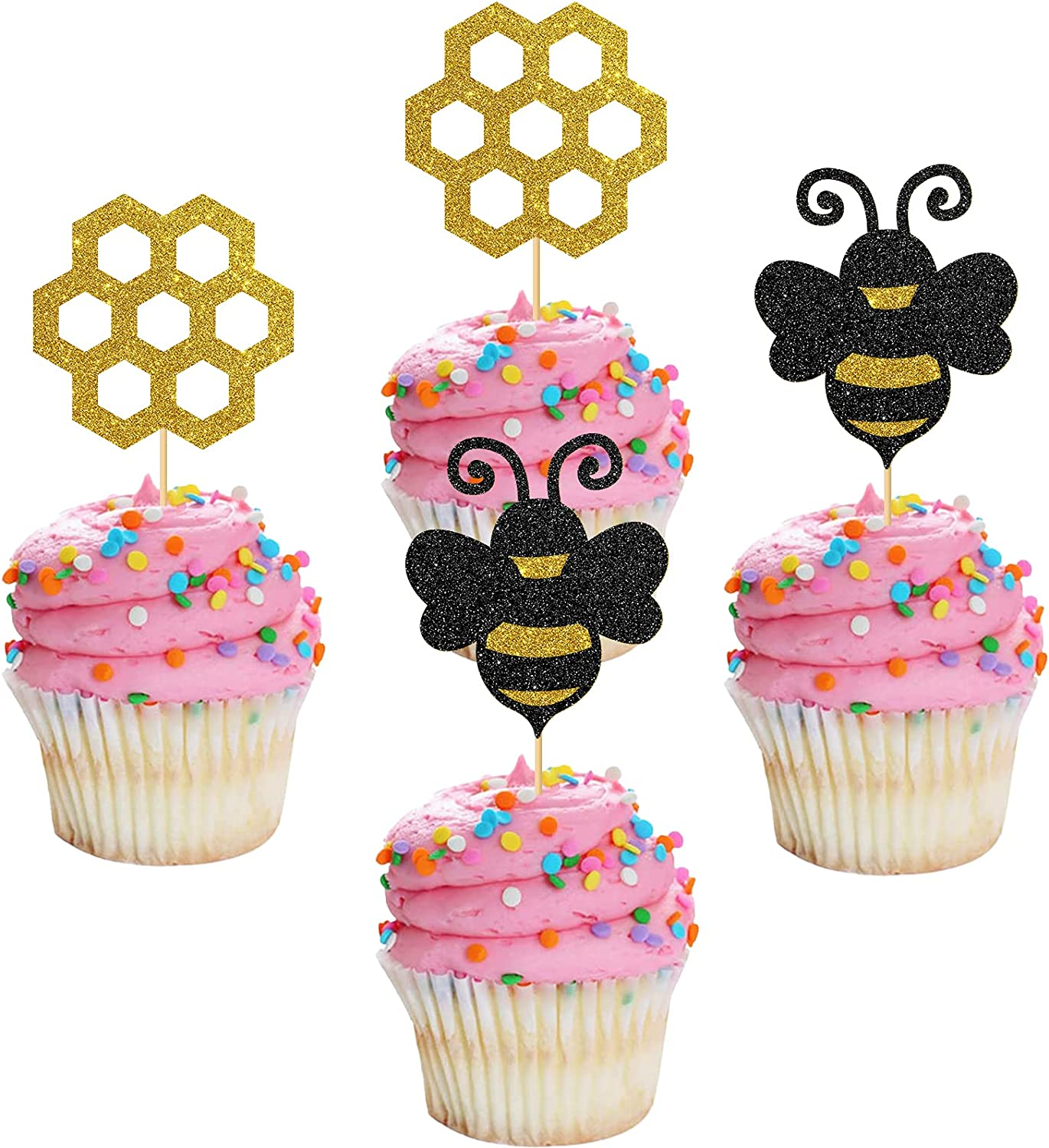 MonMon & Craft 24 Pcs Bumble Bee Cupcake Toppers for Children Birthday / Wedding Party / Sweet Cake Decor / Bee Theme Gender Reveal Party Cupcake Decorations / Black Gold Glitter Honeycomb Cupcake Toppers
