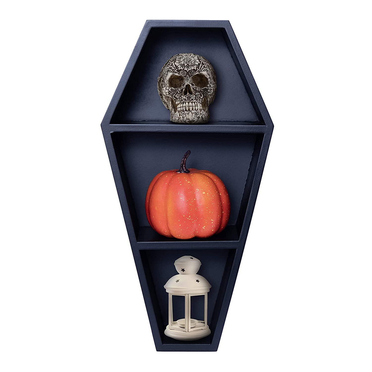Manny's Mysterious Oddities Coffin Shelf - Gothic Decor for The Home - Black Hanging Wooden Shelf
