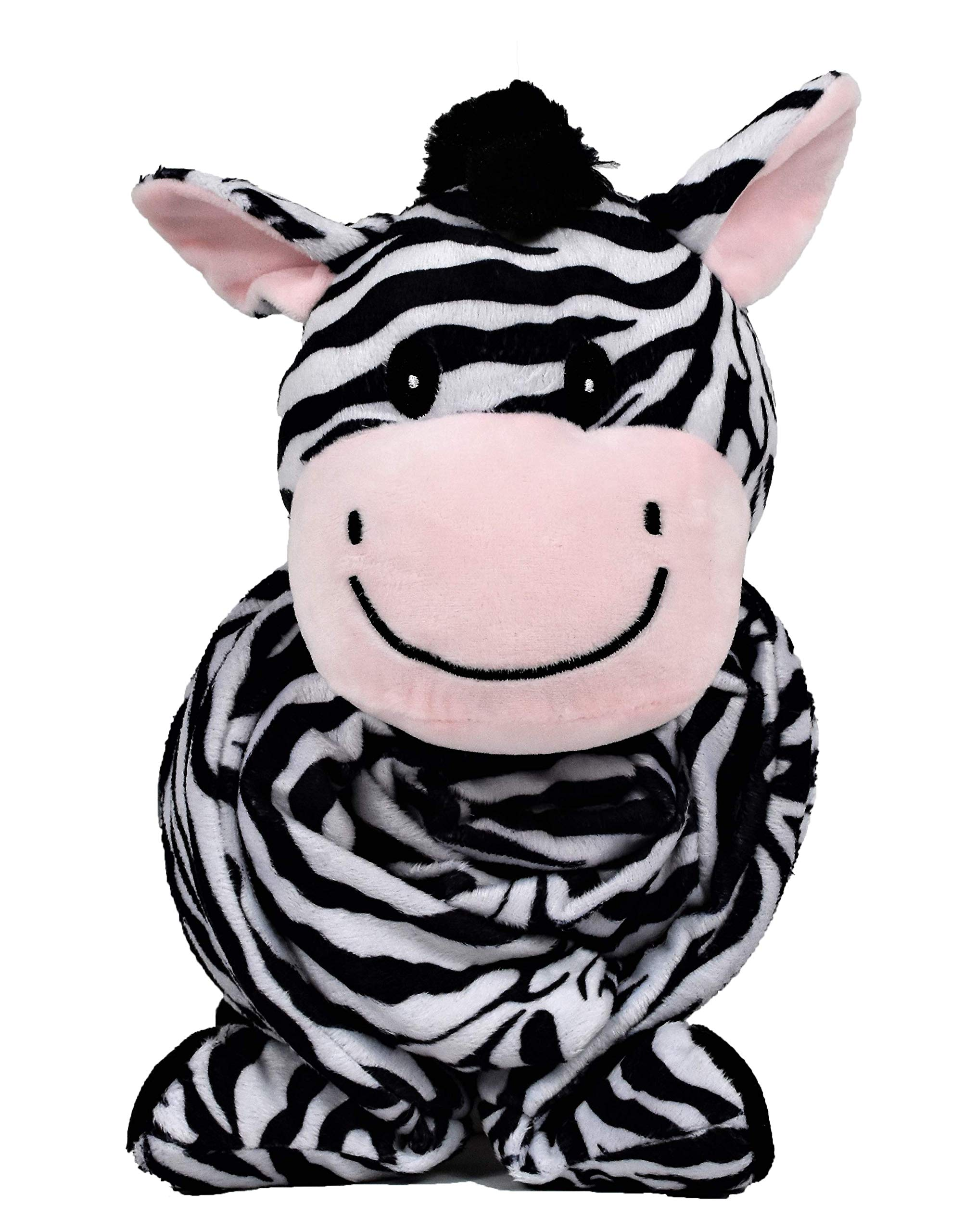 """SNUGGIES Zebra Stuffed Animal Blanket & Cuddly Pillow 2-in-1 Combo – Super Soft and Cuddly Baby Zebra Blanket 37"""" x 30"""" and Zoo Plush Toy 14"""" x 8"""" – Perfect Unisex Baby Shower Gift by Snuggies"""