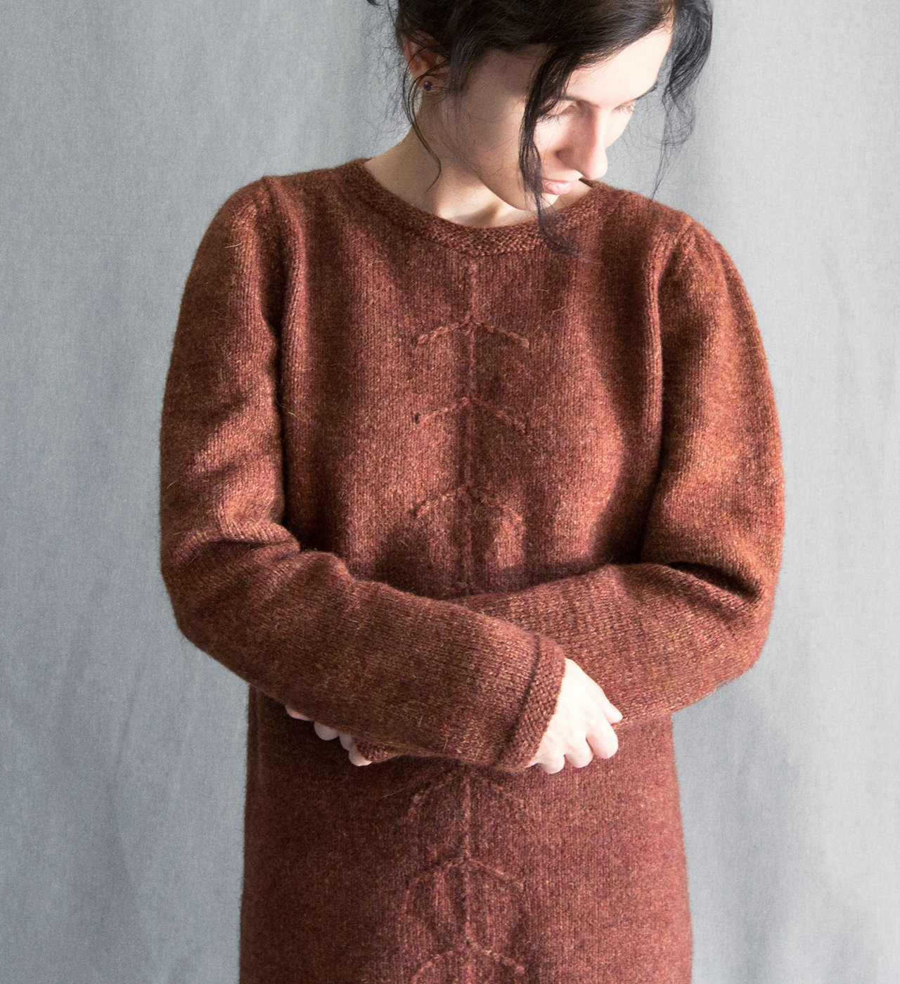 Knitted dress woolen dress wool knit women's sweater knitwear winter dress crocheted dress warm dress terracotta brown dress sweater wool
