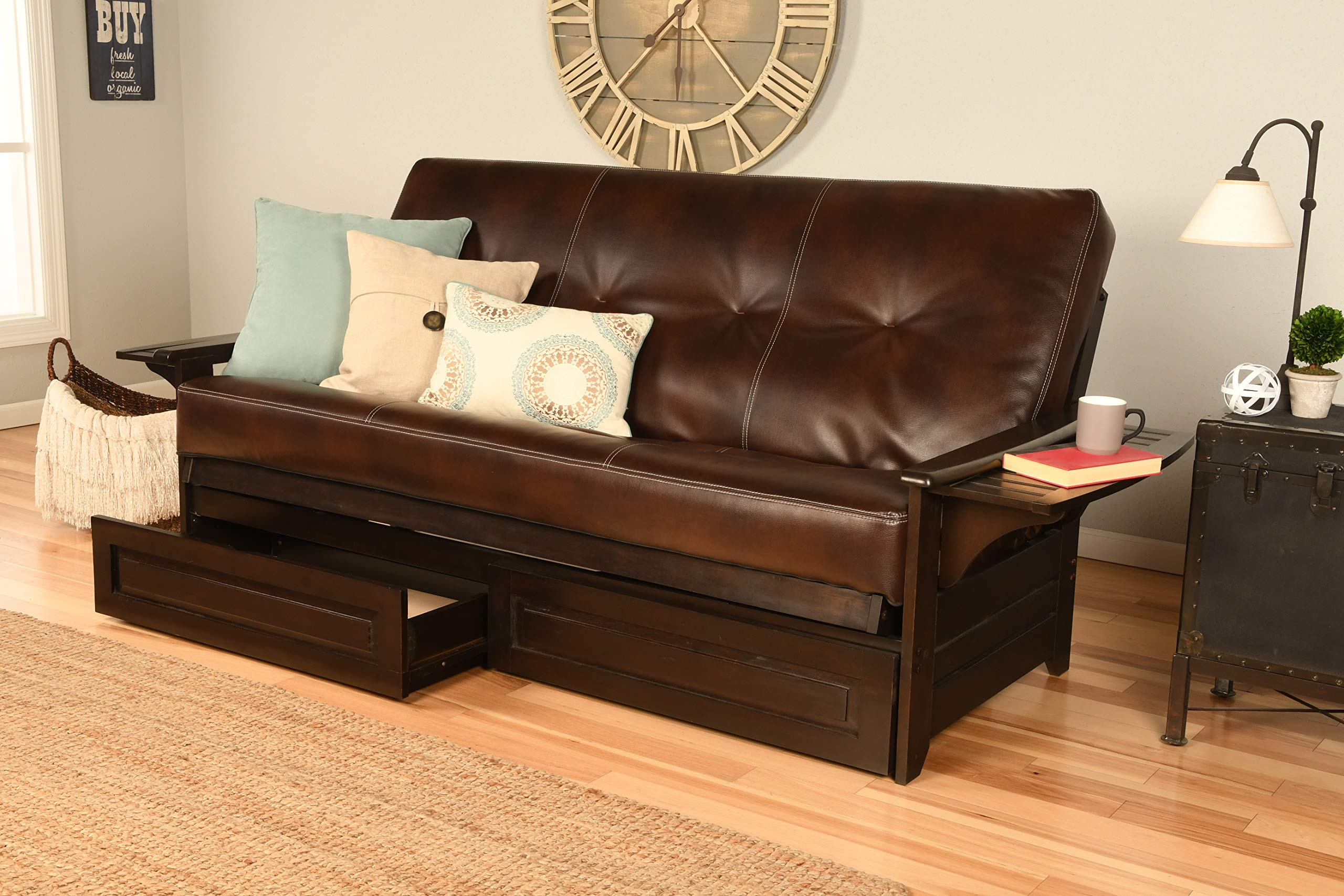 Kodiak Futons Phoenix Full Size Futon in Espresso Finish with Storage Drawers, Oregon Trail Java by Kodiak Futons
