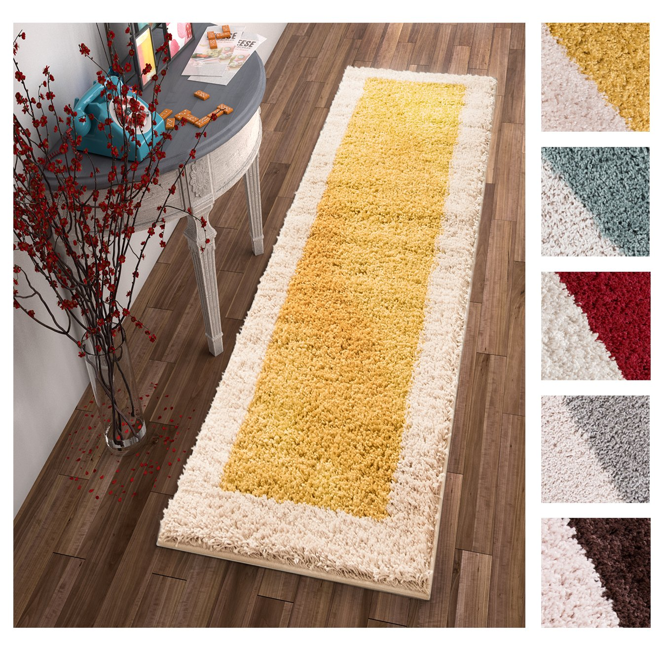 """Porta Border Modern Geometric Shag 2x7 (2'' x 7'3'' Runner) Area Rug Gold Beige Plush Easy Care Thick Soft Plush Living… - Thick, plush, fluffy 1"""" Pile. Lush polypropylene power loomed in Turkey. Stain resistant and fade resistant. 100% jute backing is safe for wood floors. Extremely durable and very easy to clean, made to last for years. Size: 2'' x 7'3'' Runner Plain border rug with solid color block interior. - runner-rugs, entryway-furniture-decor, entryway-laundry-room - 81xjIRkaqVL -"""