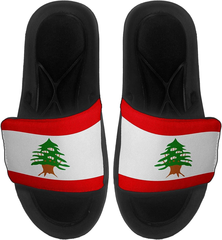 ExpressItBest Cushioned Slide-On Sandals//Slides for Men Flag of Lebanon Women and Youth - Lebanon Flag Lebanese