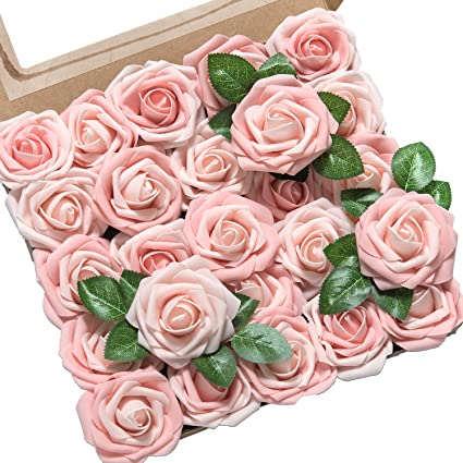 Amazon lings moment artificial flower blush and pink heirloom lings moment artificial flower blush and pink heirloom roses 25pcs real looking fake roses w mightylinksfo
