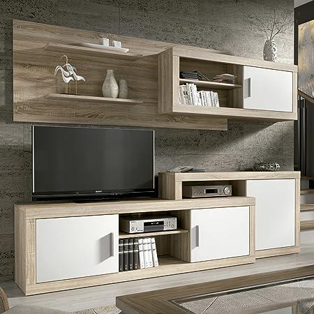 HomeSouth - Mueble de Comedor, Salon Modelo Opalo, Acabado Color Cambria y Blanco, Medidas: 240 cm de Ancho