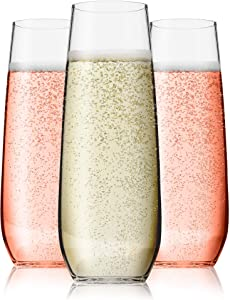 Vivocci Unbreakable Heavy Duty Reusable Plastic Stemless Champagne Flutes 8.5oz Ideal for Cocktails & Sparkling Wine Perfect for Wedding Parties | Tritan Glassware | Dishwasher Safe Glasses | Set of 6
