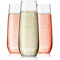 Vivocci Unbreakable Heavy Duty Reusable Plastic Stemless Champagne Flutes 8.5oz Ideal for Cocktails & Sparkling Wine…