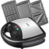 Aicok Sandwich Maker, Panini Press Grill, Waffle Maker, American Toaster Maker, 3-in-1 Detachable Non-stick Coating Table Grill, Mini Maker, Black