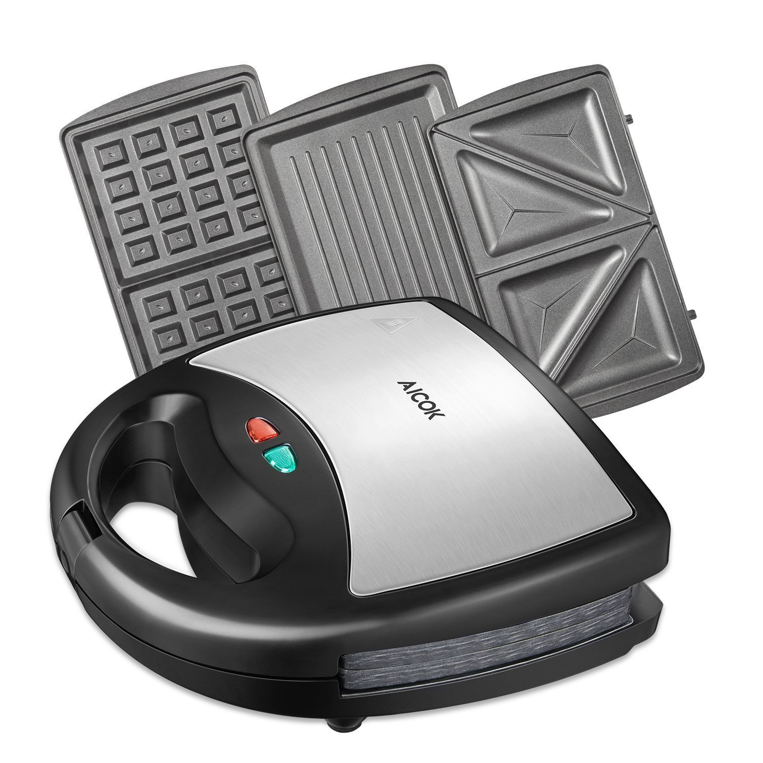 Aicok Sandwich Maker, Waffle maker, Sandwich toaster, 750-Watts, 3-in-1 Detachable Non-stick Coating, LED Indicator Lights, Black ST-08