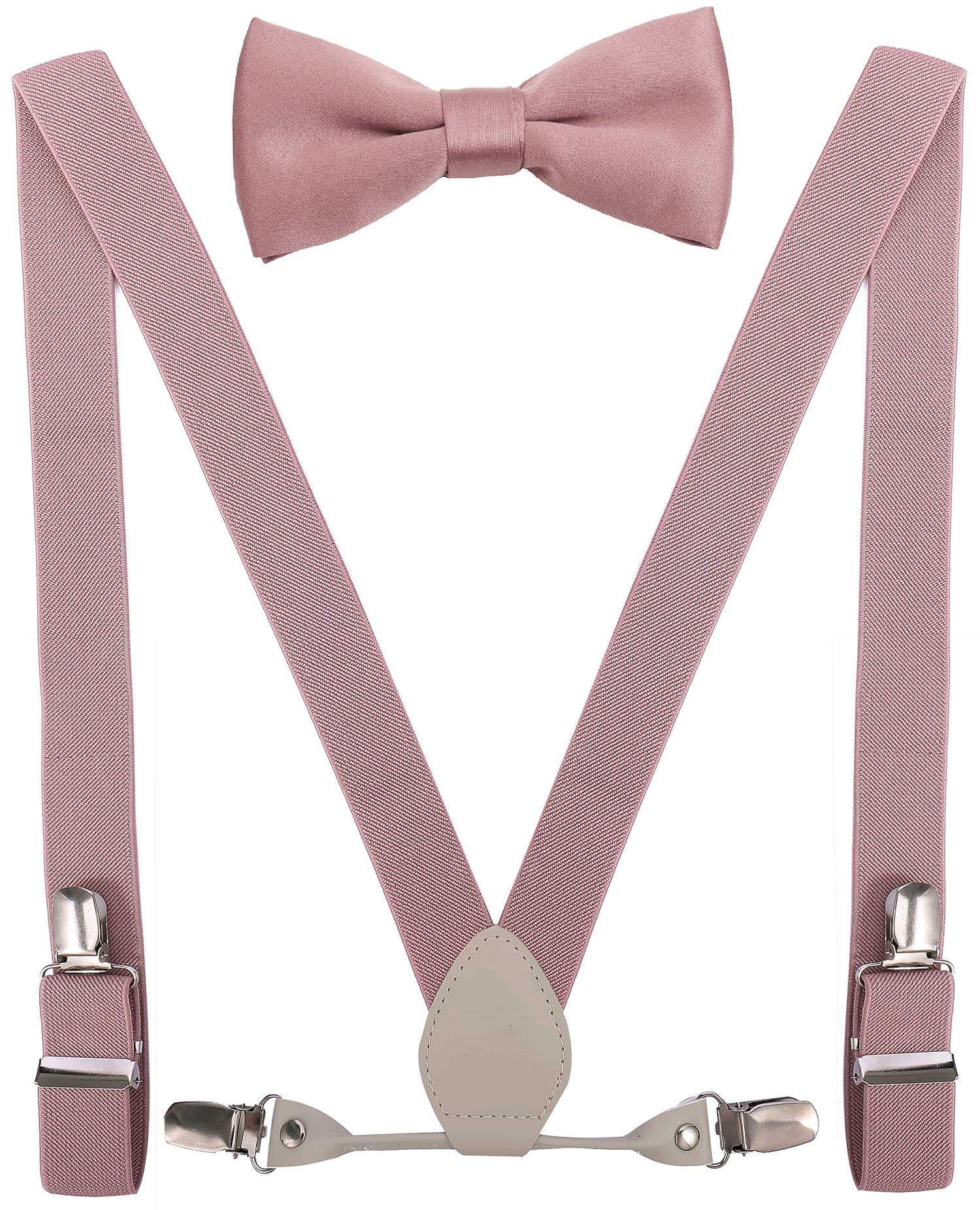 YJDS Girls Leather Suspenders and Bowtie Set Elastic for Wedding Blush Pink 39'' by YJDS
