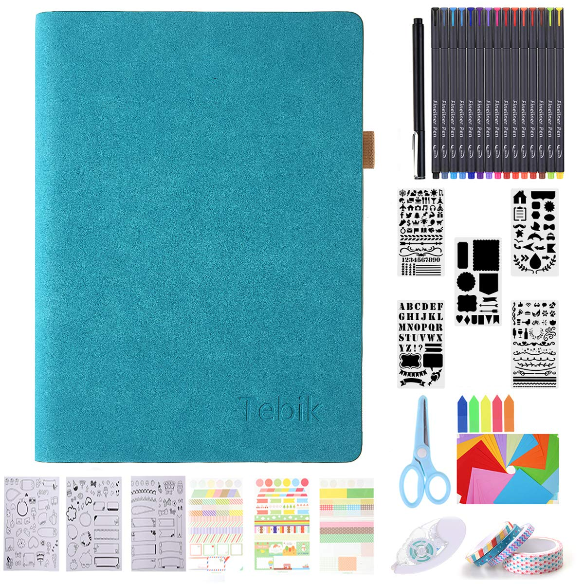 Bullet Dotted Journal Kit, Tebik A5 Loose Leaf Leather Journal with Colored Pens,Reusable Stencils,Stickers,Washi Glue Tape,Scissors,Colorful Paper for Journal Writing Planner Art Office by Tebik