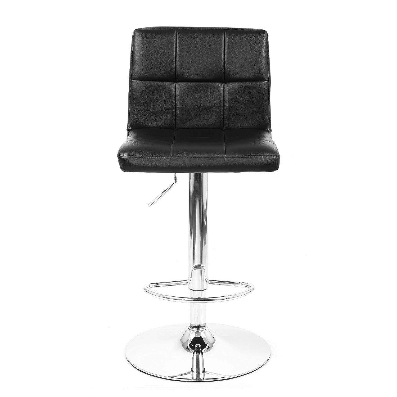 Moustache ® High Back Swivel Adjustable Black PU Leather Bar Stool Pub Chair, with Backrest & Footrest / Back Foot Rest MOFC-H-6302LBK