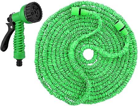 Manguera Jardín Manguera de jardín expandible, material verde no retorcido, pistola de rociado de 7 modos, manguera a prueba de fugas, fácil de almacenar, fácil de transportar, utilizada para el lavad: Amazon.es: