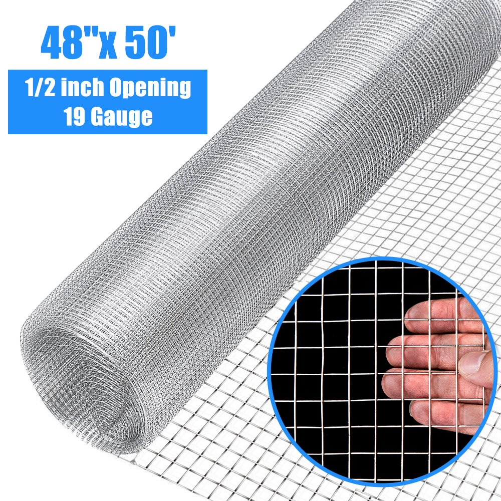 Goplus 1/2 inch Hardware Cloth 48'' x 50' Galvanized Welded Cage Wire, Plant Supports Poultry Enclosure Rabbit Chicken Run Fence Window Doors Wire Fence (48'' x 50')
