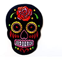 Tyga_Thai Brand Mexican Sugar Skull Tattoo Dead Head Black Color Biker Embroidered Applique Sew on Iron on Patch…
