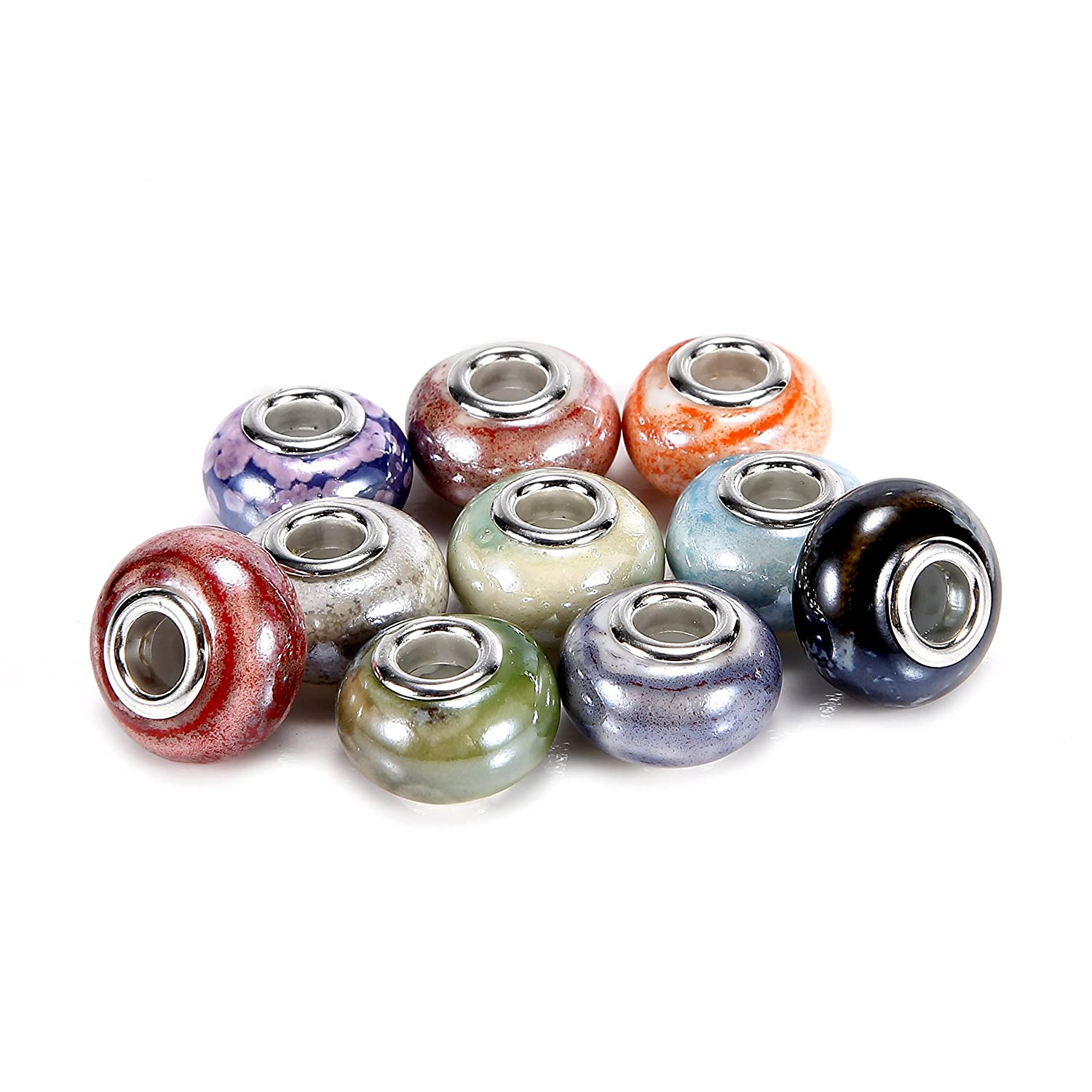 BRCbeads Top Quality 100Pcs Mix Silver Plate STYLE4 Murano Lampwork European Glass Crystal Charms Beads Spacers Fit Troll Chamilia Carlo Biagi Zable Snake Chain Charm Bracelets. BRC Creative Corp. 4336815119