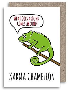 Funny Karma Chameleon Card Carte D Anniversaire Animaux Carte