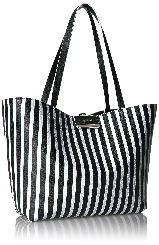 1a6999b884c3 GUESS Bobbi Black White Stripe Inside Out Tote