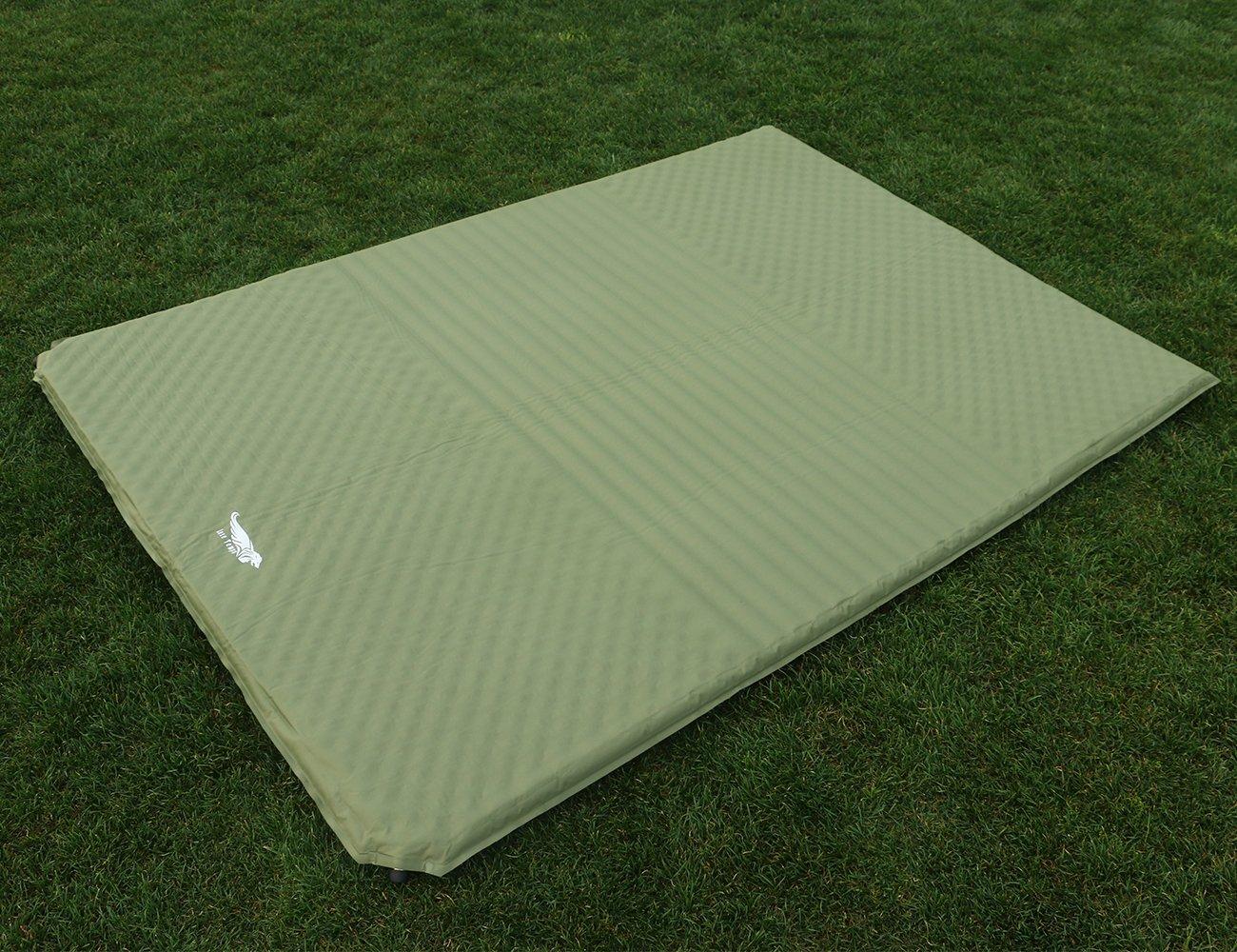 Luxe Tempo 2人用 インフレータブルマット エアーマット 軽量 車中泊マット キャンプ マット アウトドア エアクッション 厚み3.8cm B072BBR2WY  グリーン