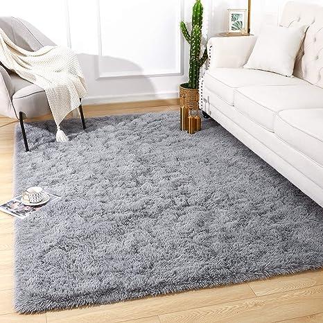 Beglad 3 ft x 5 ft Soft Fluffy Area Rug Modern Shaggy Bedroom Rugs for Kids Room Extra Comfy Nursery Rug Floor Carpets Boys Girls Fuzzy Shag Fur Home Decor Rug Grey