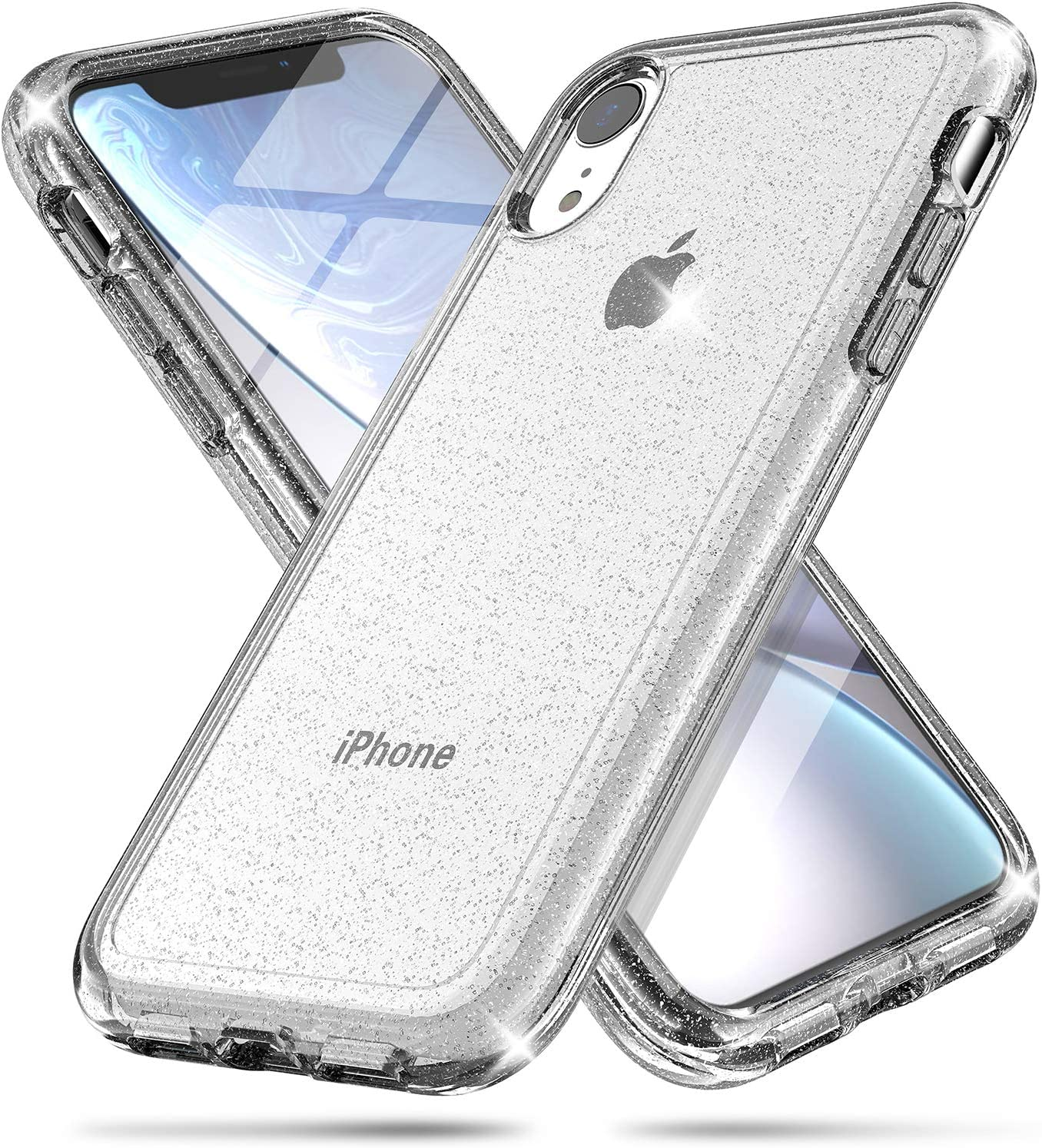 FanTEK Compatible for iPhone XR Case, Luxury Bling Glitter Protective Bumper Hard Shell Shockproof Crystal Cover for Women Girl iPhone XR, Glitter Clear