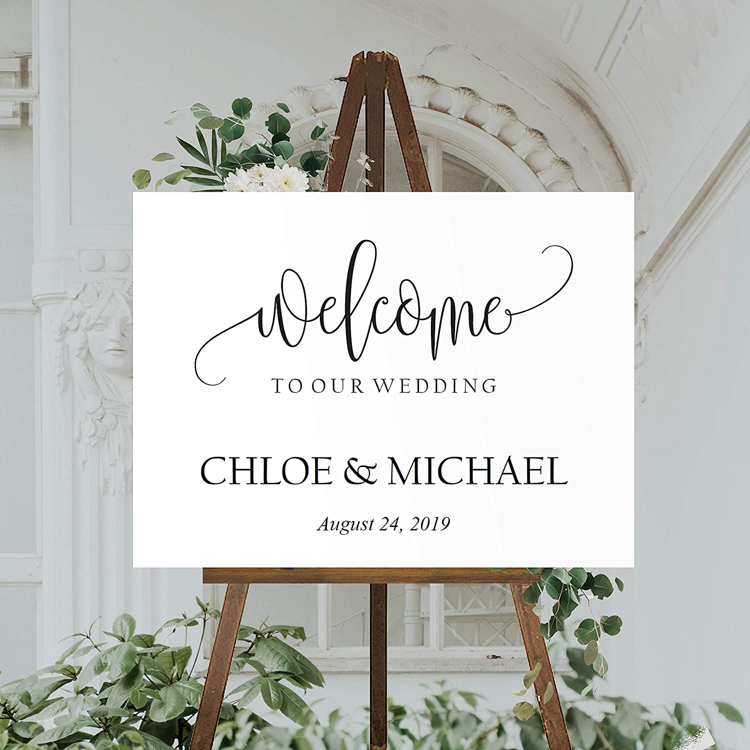 """FabricMCC Personalized Welcome to Our Wedding Sign,Rustic Welcome Wedding  Sign Custom Party Entrance Wedding Welcome Sign Gift for Couple (8""""x8"""")"""
