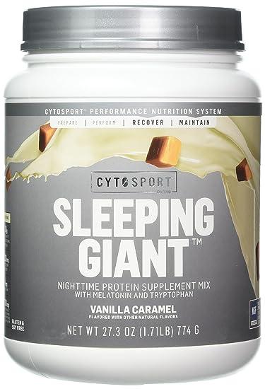 Cytosport Sleeping Giant Vanilla Caramel Nighttime Protein Supplement Powder - with Melatonin &...